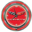 Trademark Global® Chrome Double Ring Analog Neon Wall Clock, Corvette C6, Red