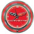 Trademark Global® Chrome Double Ring Analog Neon Wall Clock, Corvette C6, Red