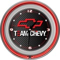 Trademark Global® Chrome Double Ring Analog Neon Wall Clock, Chevrolet Team Chevy Racing