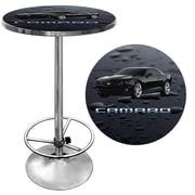 "Trademark Global® 28"" Solid Wood/Chrome Pub Table, Black, Chevrolet® Black Camaro"