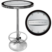 "Trademark Global® 28"" Solid Wood/Chrome Pub Table, Gray, Chevrolet® Camaro"