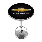 "Trademark Global® 27.37"" Solid Wood/Chrome Pub Table, Black, Chevrolet® Chevy"