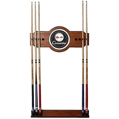 Trademark Global® 2 Piece Wood and Glass Billiard Cue Rack With Mirror, Corvette C1, Black