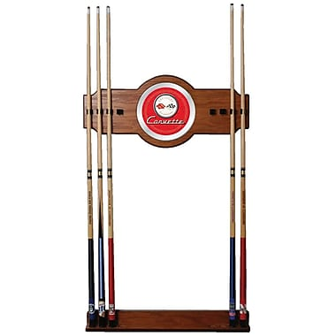 Trademark Global® 2 Piece Wood and Glass Billiard Cue Rack With Mirror, Corvette C1, Red