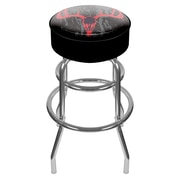 Trademark Global® Vinyl Padded Swivel Bar Stool, Black, Hunting Skull
