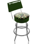 Trademark Global® Vinyl Padded Swivel Bar Stool With Back, Hunter Green, Hunt Camo
