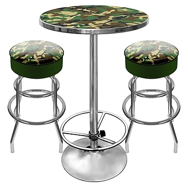 Trademark Global® 2 Bar Stools and Table Gameroom Combo, Hunt Camo