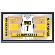 "Trademark Global® 15"" x 26"" Black Wood Framed Mirror, University of Iowa Basketball"