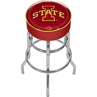 Trademark Global® NCAA® Vinyl Padded Swivel Bar Stool, Red, Lowa State University