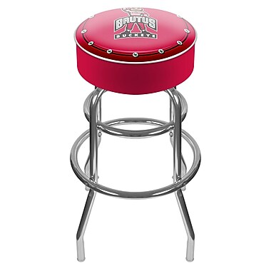 Trademark Global® NCAA® Vinyl Padded Bar Stool, Red, Brutus Ohio State University Logo