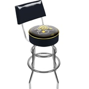 Trademark Global® NCAA® Vinyl Padded Swivel Bar Stool With Back, Black, Wichita State University