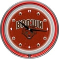 Trademark Global® Chrome Double Ring Analog Neon Wall Clock, NCAA Brown University