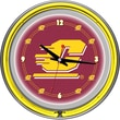 Trademark Global® Chrome Double Ring Analog Neon Wall Clock, NCAA Central Michigan University