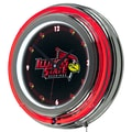 Trademark Global® Chrome Double Ring Analog Neon Wall Clock, NCAA Lllinois State University