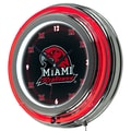 Trademark Global® Chrome Double Ring Analog Neon Wall Clock, NCAA Miami University Ohio