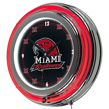 Trademark Global® Chrome Double Ring Analog Neon Wall Clock, NCAA Miami University Ohio