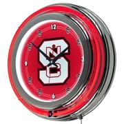 Trademark Global® Chrome Double Ring Analog Neon Wall Clock, NCAA North Carolina State