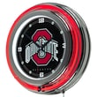 Trademark Global® Chrome Double Ring Analog Neon Wall Clock, NCAA The Ohio State University Black
