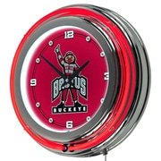 Trademark Global® Chrome Double Ring Analog Neon Wall Clock, NCAA The Ohio State University Brutus