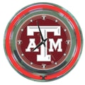 Trademark Global® Chrome Double Ring Analog Neon Wall Clock, NCAA Texas A&M University