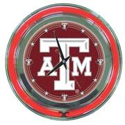 Trademark Global® Chrome Double Ring Analog Neon Wall Clock, NCAA Texas A&M University