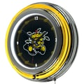 Trademark Global® Chrome Double Ring Analog Neon Wall Clock, NCAA Wichita State University