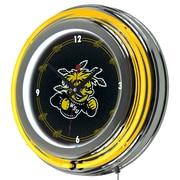 Trademark Global® Chrome Double Ring Analog Neon Wall Clock, NCAA Wichita State University