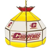 """Trademark Global® 16"""" Stained Glass Tiffany Lamp, Central Michigan U NCAA"""