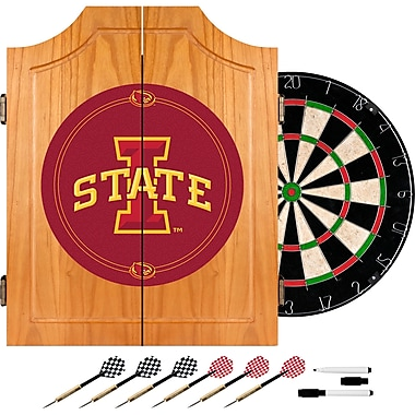 Trademark Global® Solid Pine Dart Cabinet Set, NCAA Lowa State University