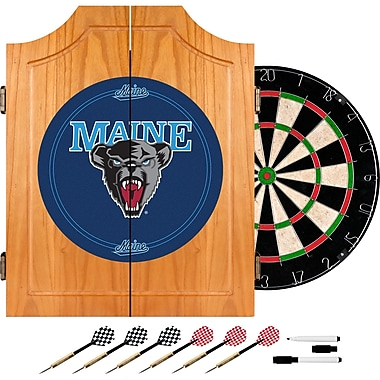 Trademark Global® Solid Pine Dart Cabinet Set, NCAA University of Maine