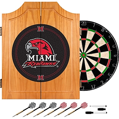 Trademark Global® Solid Pine Dart Cabinet Set, NCAA Miami University Ohio