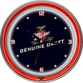 Trademark Global® Chrome Analog Neon Wall Clock, Miller Genuine Draft