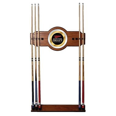 Trademark Global® Wood and Glass Billiard Cue Rack With Mirror, Miller Genuine Draft