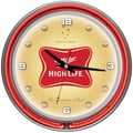 Trademark Global® Chrome Analog Neon Wall Clock, Miller High Life