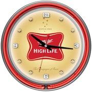 Trademark Global® Chrome Analog Neon Wall Clock, Miller High Life