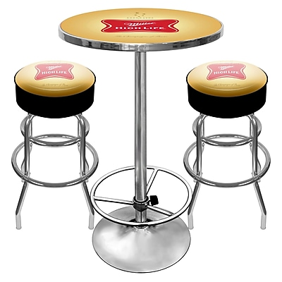Trademark Global Ultimate Pub Table and Stools Combo, Miller High Life