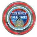 Trademark Global® Chrome Double Ring Analog Neon Wall Clock, United States Coast Guard