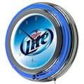 Trademark Global® Chrome Analog Neon Wall Clock, Miller Lite