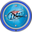 Trademark Global® Chrome Analog Neon Wall Clock, Miller Lite Vapor Design