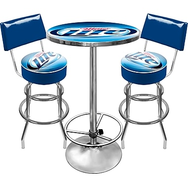 Trademark Global® Ultimate 2 Bar Stools With Back and Table Gameroom Combo, Miller Lite®