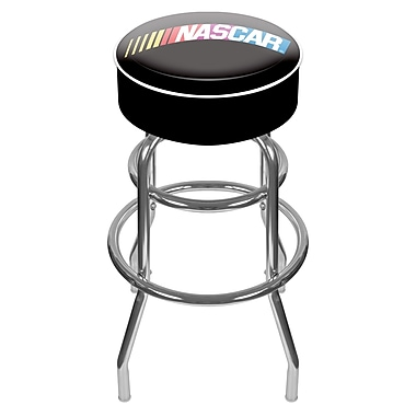 Trademark Global® Vinyl Padded Swivel Bar Stool, Black, Nascar