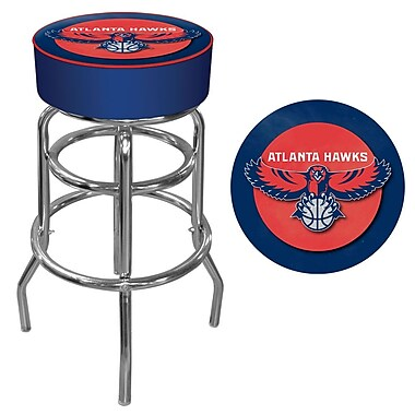Trademark Global® Vinyl Padded Swivel Bar Stool, Blue, Atlanta Hawks NBA