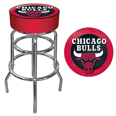 Trademark Global® Vinyl Padded Swivel Bar Stool, Red, Chicago Bulls NBA