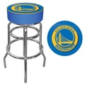 Trademark Global® Vinyl Padded Swivel Bar Stool, Blue, Golden State Warriors NBA