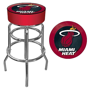 Trademark Global® Vinyl Padded Swivel Bar Stool, Red, Miami Heat NBA
