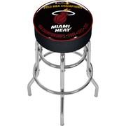 Trademark Global® Vinyl Padded Swivel Bar Stool, Black, Miami Heat 2013 NBA Champions