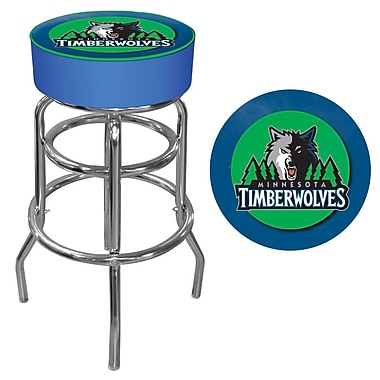 Trademark Global® Vinyl Padded Swivel Bar Stool, Blue, Minnesota Timberwolves NBA