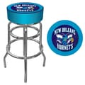 Trademark Global® Vinyl Padded Swivel Bar Stool, Blue, New Orleans Hornets NBA