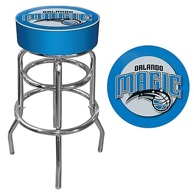 Trademark Global® Vinyl Padded Swivel Bar Stool, Blue, Orlando Magic NBA