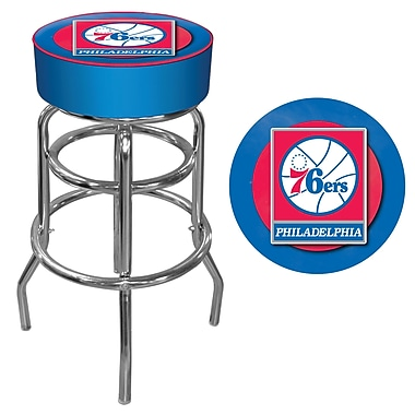 Trademark Global® Vinyl Padded Swivel Bar Stool, Blue, Philadelphia 76ers NBA